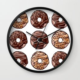 Chocolate Donuts Pattern Wall Clock