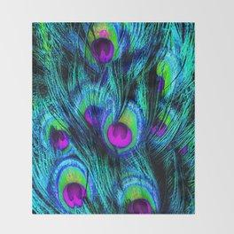 Peacock or Flower 1 Throw Blanket
