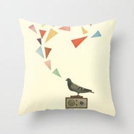 Pigeon Radio Throw Pillow