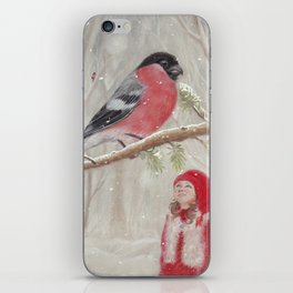 Bullfinch and Gnome-girl - Christmas iPhone Skin