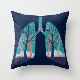 Human lungs with abstract forest inside illustration Throw Pillow