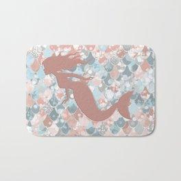 Elegant Mermaid Blush, Pink, Coral, Aqua, Teal Bath Mat