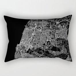 Tel Aviv-Yafo Black Map Rectangular Pillow