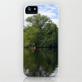 A boat on a lake in Berlin, Germany iPhone Case