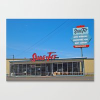 mid century Canvas Prints featuring Mid-Century building by Vorona Photography