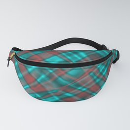 Bright metal mesh with light blue intersecting diagonal lines. Fanny Pack