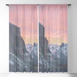 Winter Sunrise in Yosemite Valley Sheer Curtain