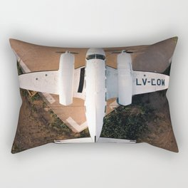 WHITE - AIRPLANE - ON - AIRFIELD - IN - SUNLIGHT - PHOTOGRAPHY Rectangular Pillow