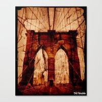 brooklyn bridge Canvas Prints featuring Brooklyn Bridge by Del Vecchio Art by Aureo Del Vecchio