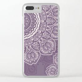 Mandala Tulips in Lavender ad Cream Clear iPhone Case
