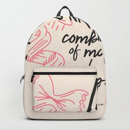 Federico Fellini, life is a combination of Magic and Pasta, handwritten quote, kitchen, food art Backpack