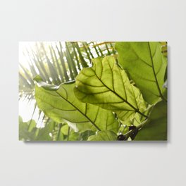 Tropical vibes leaves - Summer Light Metal Print