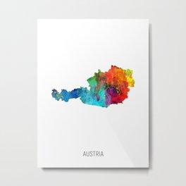 Austria Watercolor Map Metal Print