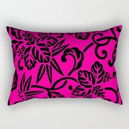 Hot Pink & Black Japanese Leaf Pattern Rectangular Pillow