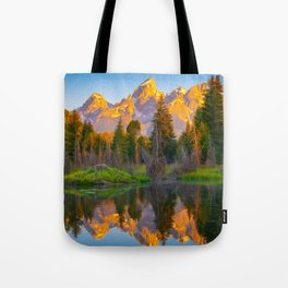 Grand Teton Sunrise Mountain Reflection Print Tote Bag