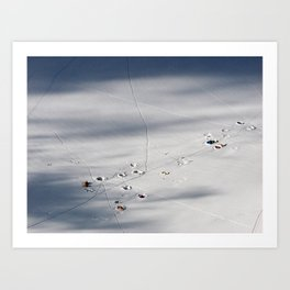 Tents in snow Art Print