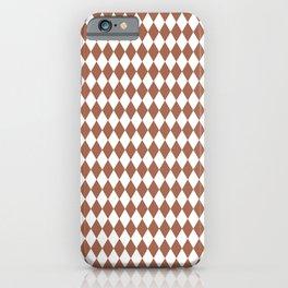 Sherwin Williams Cavern Clay and White Harlequin, Rhombus, Diamond Pattern iPhone Case