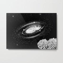 Space travelers #6 - Black/White Watercolor Metal Print