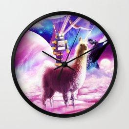 Laser Eyes Outer Space Robot Riding Llama Unicorn Wall Clock