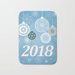 blue 2018 with christmas balls Bath Mat