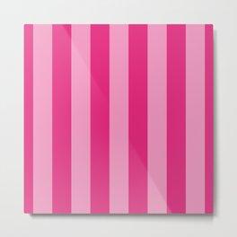 Pink Lemonade Wide Cabana Stripes Metal Print