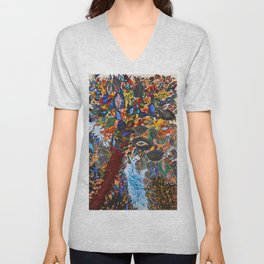 Tree of Paradise, Peacock Feathers, Calla Lilies, Poppies, Peonies by Seraphine Louis Unisex V-Neck