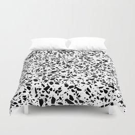 Black and White Dalmatian Pattern Dots Terrazzo Print Duvet Cover