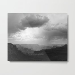 Grand Canyon Landscape with Clouds Black and White Metal Print