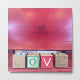 Love Red Blocks Metal Print