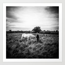Girl with Horse in Ireland - Black and White Holga Print Art Print