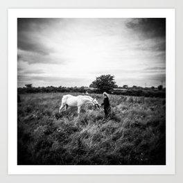 Girl with Horse in Ireland - Black and White Holga Print Art Print