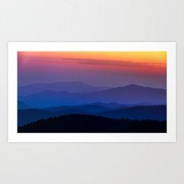 Smokey Mountain National Park Sunset Art Print