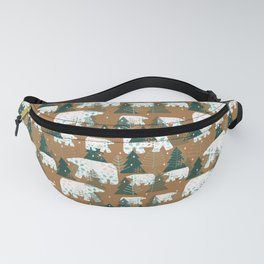 Polar Bears in the Forest - Dark Green Fanny Pack