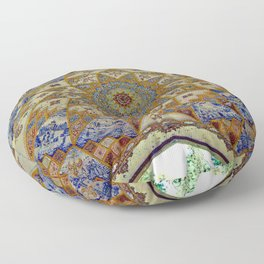 Persian Art Ornamental Tile Mosaic Dome Ceiling, Iran Floor Pillow