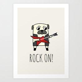 Rockstar Pug Art Print