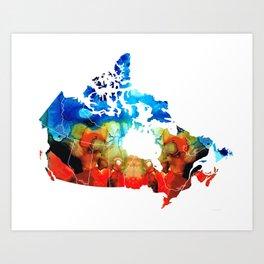 Canada - Canadian Map By Sharon Cummings Art Print