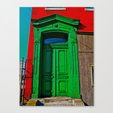 The Old Green Door  Canvas Print
