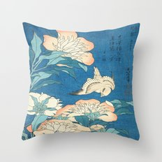 Japanese Flowers Turquoise Peach Throw Pillow
