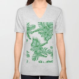 Palm Leaves and Hibiscus Tropical Green Unisex V-Neck