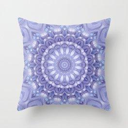 Light Blue, Lavender & and White Mandala 02 Throw Pillow