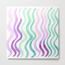 Wavy lines - pink and mint Metal Print