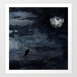 Moonlit Raven Art Print