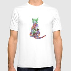 Cat Mens Fitted Tee White MEDIUM