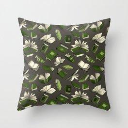 Spellbooks, green Throw Pillow
