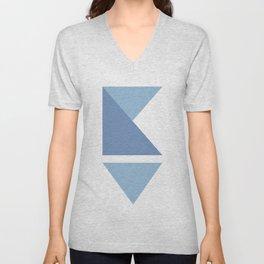 Origami Indigo Triangles Unisex V-Neck
