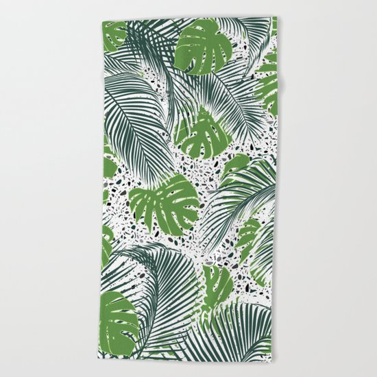 Green tropical leaves on terrazzo pattern Beach Towel