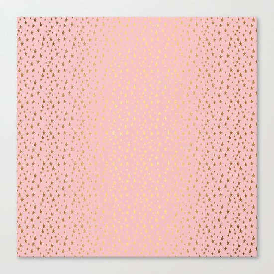 Gold and pink sparkling and shiny Stars pattern on #Society6 Canvas Print