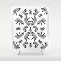 bees Shower Curtains featuring Bees by Lauren Spooner