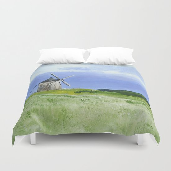 Windmill French Countryside Acrylics On Paper Duvet Cover