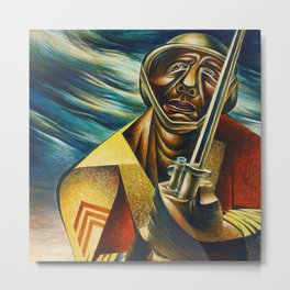 African-American 1944 Classical Masterpiece 'Black Soldier' by Charles White Metal Print